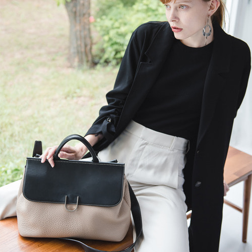U SATCHEL - BLACK/ BEIGE